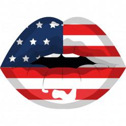 Stickers bouche USA