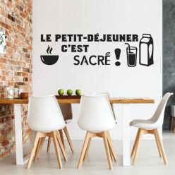 Stickers citation le petit-déjeuner c'est sacré !