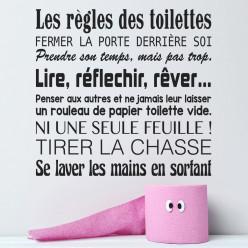 Stickers citation les règles des toilettes...