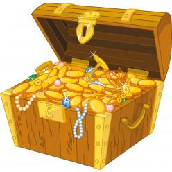 Stickers coffre et pièces d'or