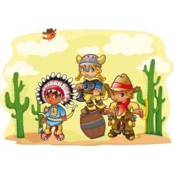 Stickers cowboy et indien