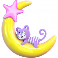 Stickers effet 3D- Chat Lune