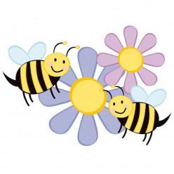 Stickers Fleurs Abeilles