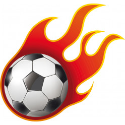 Stickers Foot ballon en feu