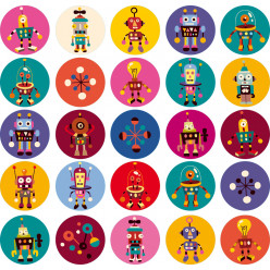 Stickers kit 25 robots