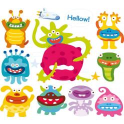 Stickers kit 9 monstres et 1 fusée
