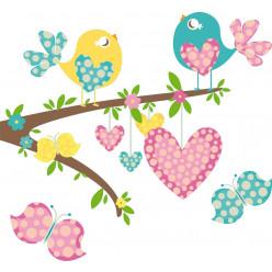 Stickers oiseaux papillons