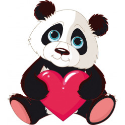 Stickers panda coeur