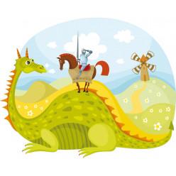 Stickers paysage chevalier et dragon