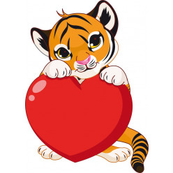 Stickers tigre coeur