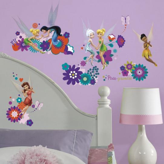 18 Stickers Fée Clochette Disney Fairies Flowers