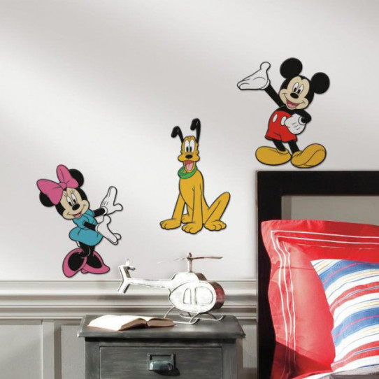 3 Stickers Mickey Minnie & Pluto 3D Relief Mousse Disney