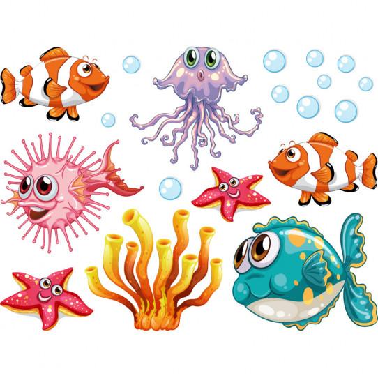 Kit Stickers océan poissons