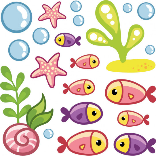 Kit Stickers poissons océan