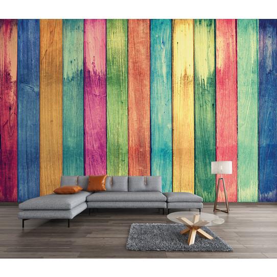 Papier peint bois colorés