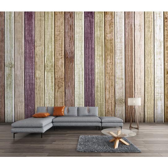 Papier peint bois couleurs