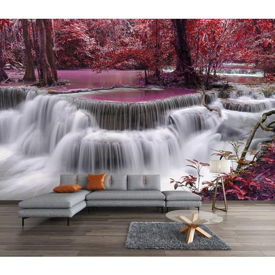 Papier peint cascade rose