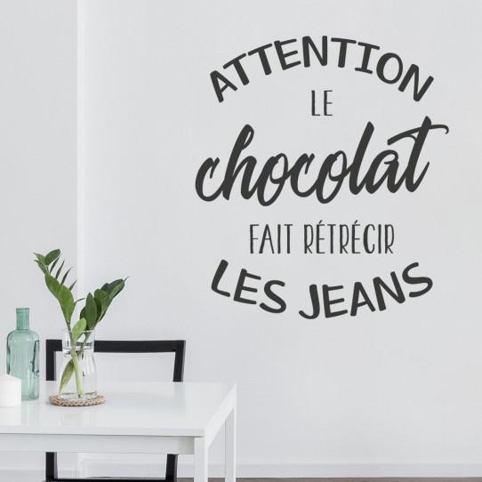 Stickers Attention le chocolat fait rétrécir les jeans