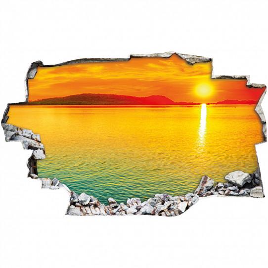 Stickers Trompe l'oeil 3D - couché de soleil mer 2