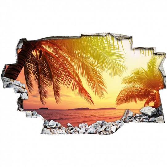 Stickers Trompe l'oeil 3D - couché de soleil mer 3