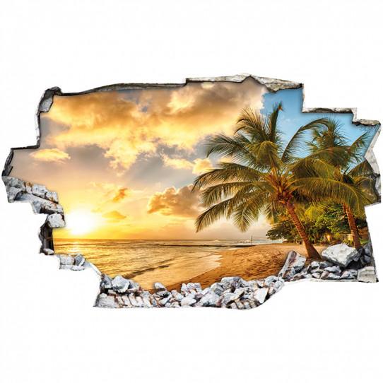 Stickers Trompe l'oeil 3D - couché de soleil mer 5