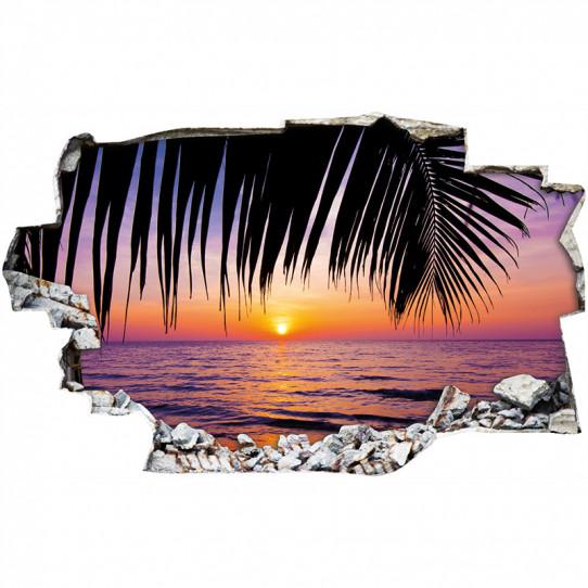 Stickers Trompe l'oeil 3D - Couché de soleil palmiers 3