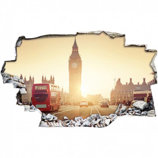 Stickers Trompe l'oeil 3D - Londres bus 2