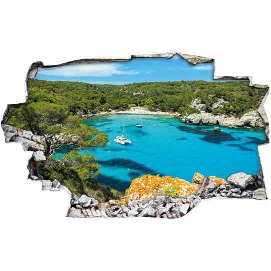 Stickers Trompe l'oeil 3D - Mer bateaux 2