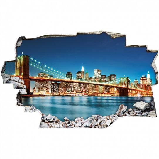 Stickers Trompe l'oeil 3D - New york nuit 2