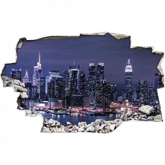Stickers Trompe l'oeil 3D - New york nuit