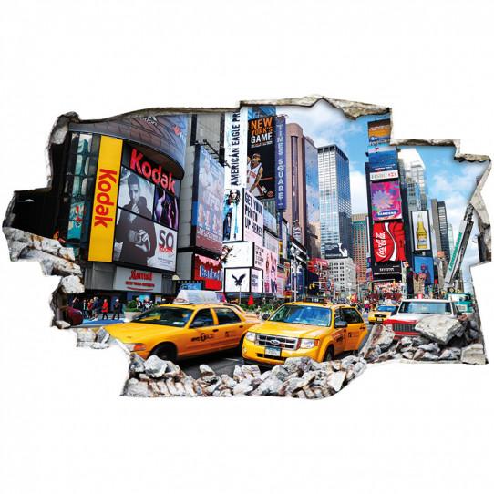 Stickers Trompe l'oeil 3D - New york taxi