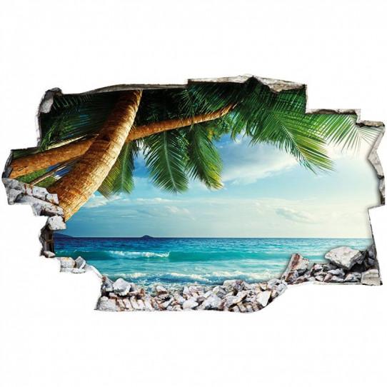 Stickers Trompe l'oeil 3D - Plage palmier 5