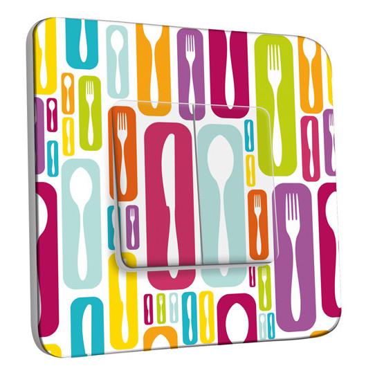 Interrupteur Décoré Double - Cuisine Couvertes Design Multicolore