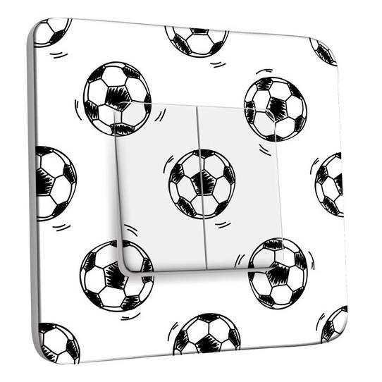 Interrupteur Décoré Double Va et Vient - Ballon de foot Black&White