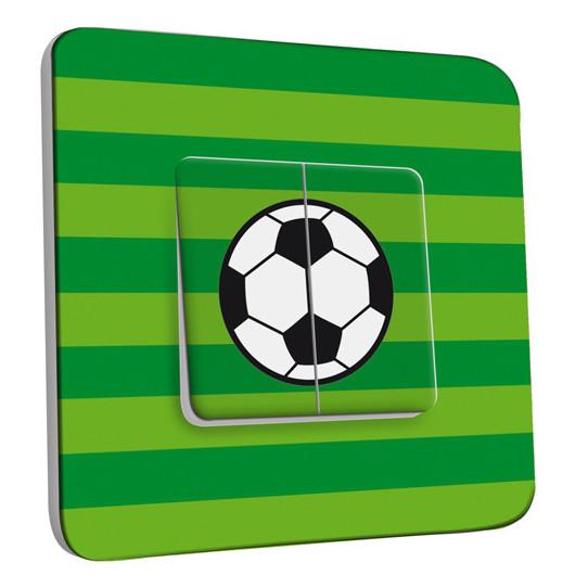 Interrupteur Décoré Double Va et Vient -  Ballon de foot Fond vert
