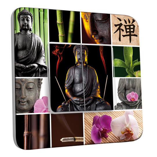 Interrupteur Décoré Double Va et Vient - Bouddha Zen 4