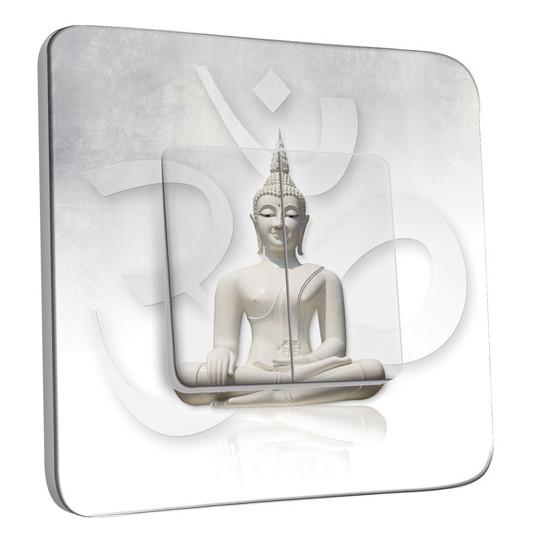 Interrupteur Décoré Double Va et Vient -  Bouddha Zen Blanc
