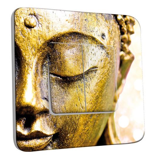 Interrupteur Décoré Double Va et Vient - Bouddha Zoom Or 3