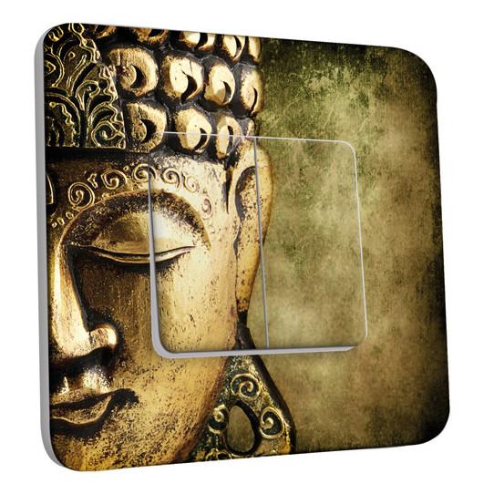 Interrupteur Décoré Double Va et Vient -  Bouddha Zoom Or 4