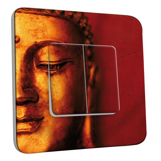 Interrupteur Décoré Double Va et Vient -  Bouddha Zoom Or 5