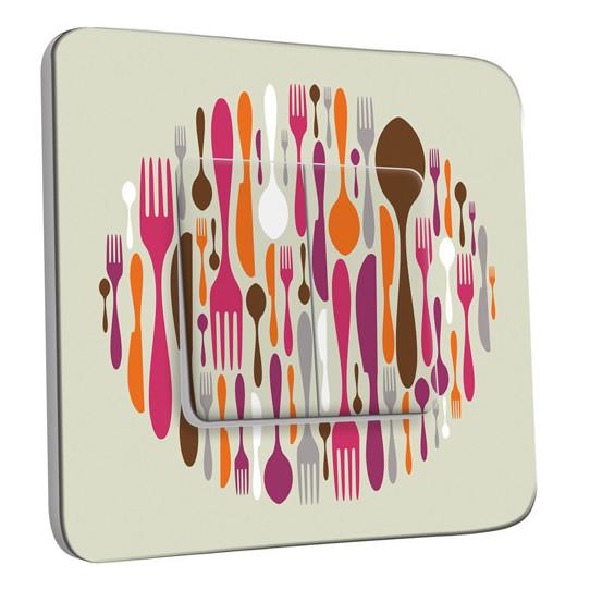 Interrupteur Décoré Double Va et Vient - Cuisine Couverts Design 2