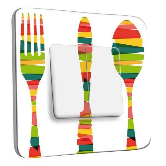Interrupteur Décoré Double Va et Vient - Cuisine Couverts Multicolorés