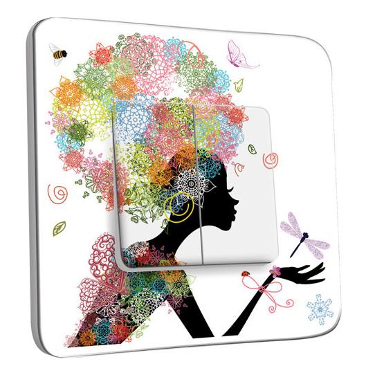 Interrupteur Décoré Double Va et Vient - Femme en Fleurs Design 1