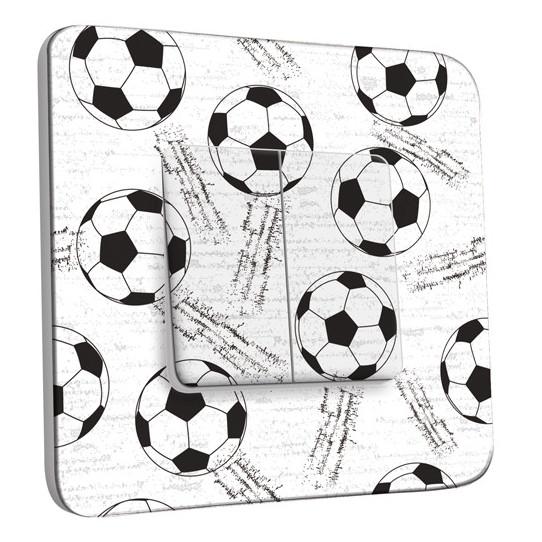 Interrupteur Décoré Double Va et Vient - Football Black&White 1