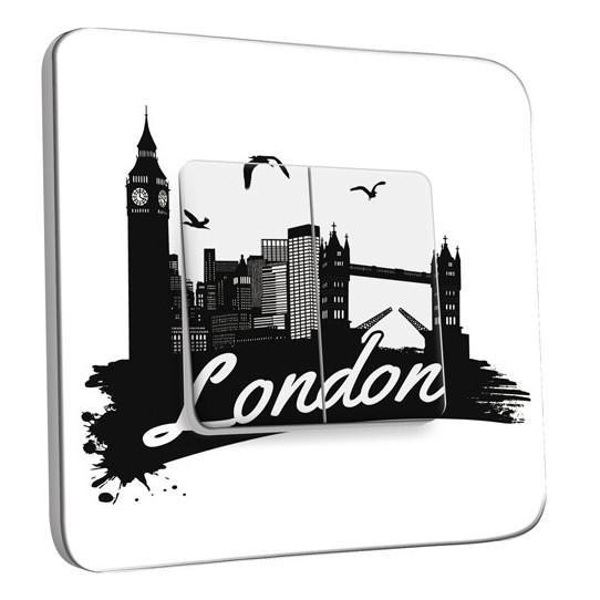 Interrupteur Décoré Double Va et Vient - London Black&White