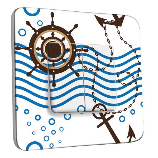 Interrupteur Décoré Double Va et Vient - Motif Marin Bleu design