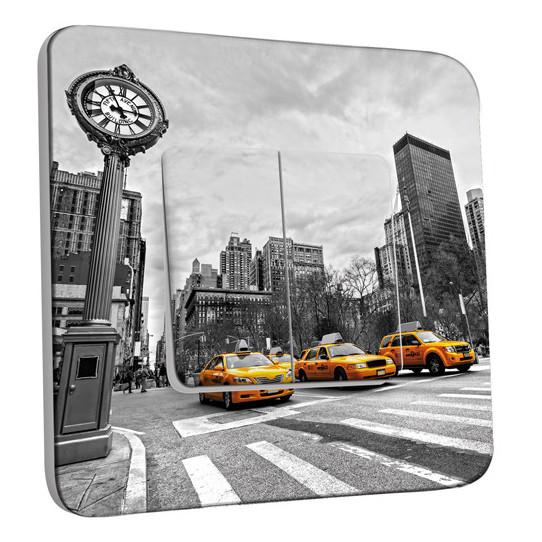 Interrupteur Décoré Double Va et Vient - New York Black&White Taxis