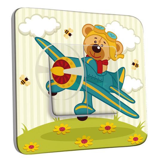 Interrupteur Décoré Double Va et Vient - Ourson dans l'Avion Enfant