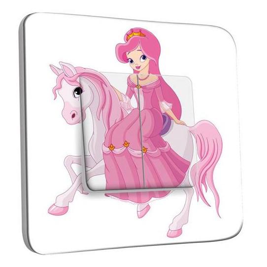 Interrupteur Décoré Double Va et Vient - Princesse cheval