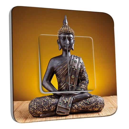 Interrupteur Décoré Double Va et Vient - Statue Bouddha Or